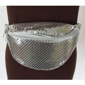 Women's Metallic Silver Fanny Pack Belt Purse
